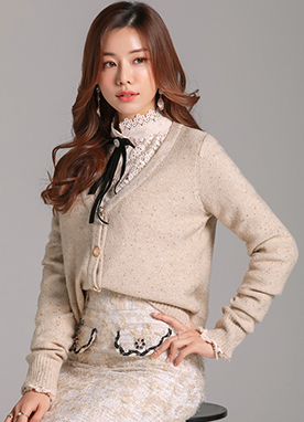 Jewel Button Glittery V-Neck Cardigan, Styleonme