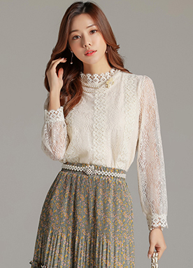Romantic Layered Floral Lace Blouse, Styleonme