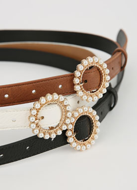 Pearl Circle Buckle Belt, Styleonme