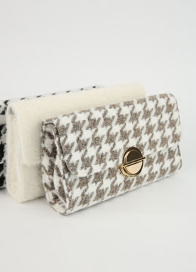 Soft Houndstooth Clutch Bag, Styleonme