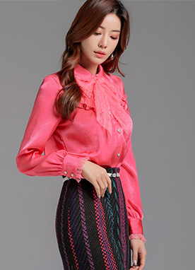 See-through Dot Lace Ribbon Tie Blouse, Styleonme