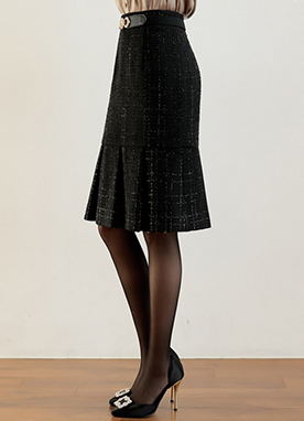 Metallic Tweed Pleated Hem Skirt, Styleonme