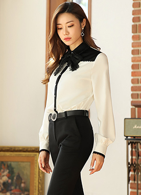Classic Lace Ribbon Tie Collared Blouse, Styleonme