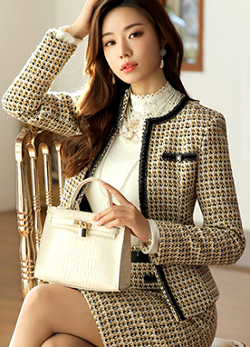 Gold Button Collarless Tweed Jacket, Styleonme