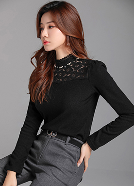 Floral Lace Detail Pearl Neckline Blouse Tee, Styleonme