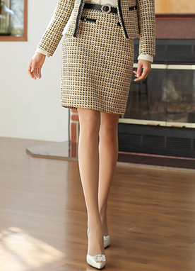 Gold Button H-Line Tweed Skirt, Styleonme