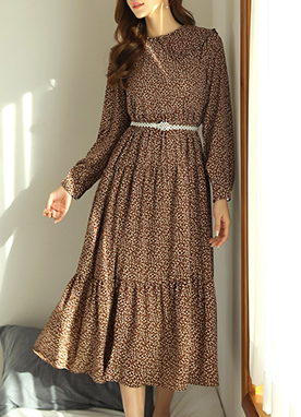 Floral Print Long Collared Dress, Styleonme