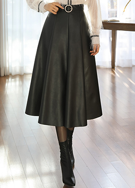 Flared Leather Skirt, Styleonme