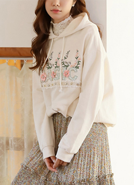 Pearl Accent Flower Embroidered Hoodie, Styleonme