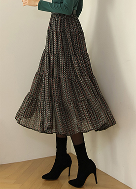 Ethnic Dot Print Pleated Long Skirt, Styleonme
