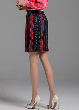 Mix Color Herringbone H-Line Skirt, Styleonme