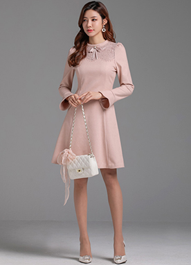 Romantic Pink Lace Flared Dress, Styleonme