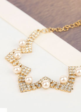 Pearl & Cubic Gold Bracelet, Styleonme