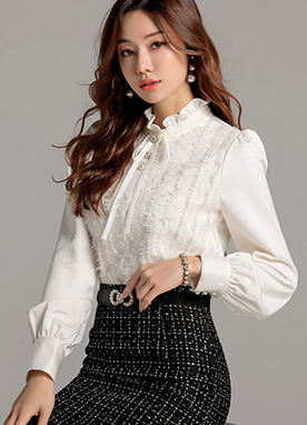 Ribbon Tie Frill Neck Feather Blouse, Styleonme