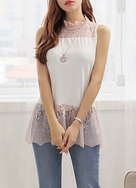 High Neck Lace Sleeveless Tee, Styleonme