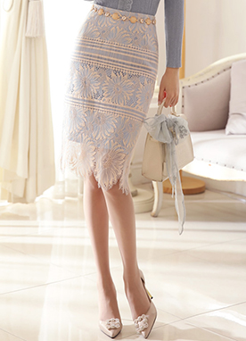 Two-Tone Floral Lace Pencil Skirt, Styleonme