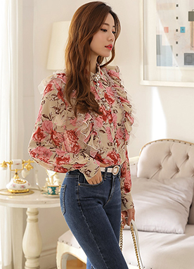 Rose Print Frill Collared Blouse, Styleonme