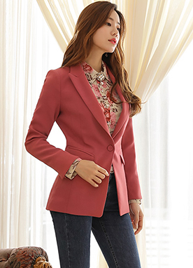 Single Button Slim Fit Tailored Jacket, Styleonme
