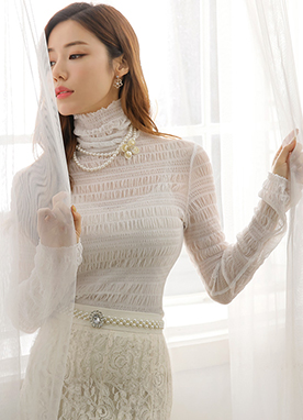 See-through Crinkled Lace Turtleneck Tee, Styleonme