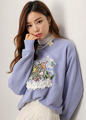 Spring Garden Embroidered Sweatshirt, Styleonme
