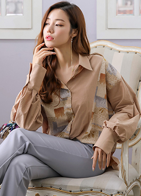 Art Pattern Crinkled Loose Fit Collared Blouse, Styleonme