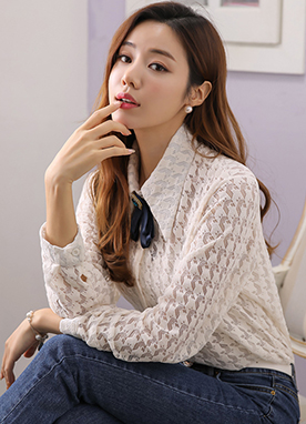 See-through Houndstooth Shirt Blouse, Styleonme