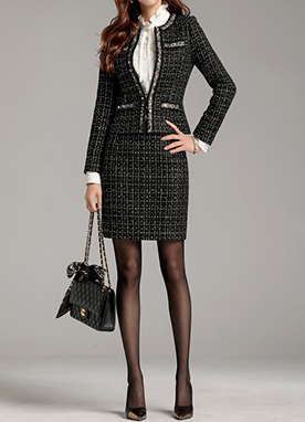 Chic Studded Tweed Jacket, Styleonme