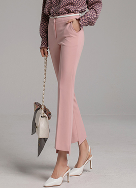 Spring Color Step Hem Boot-Cut Slacks, Styleonme