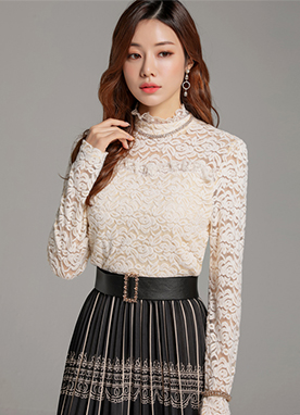 See-through Brushed Floral Lace Blouse, Styleonme