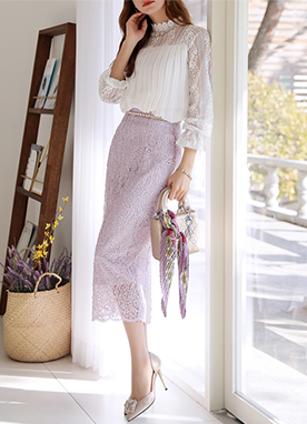 Floral Leaf Lace H-Line Long Skirt, Styleonme