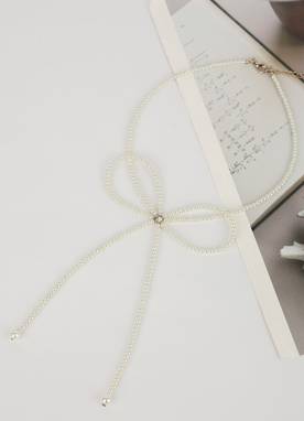 Pearl Ribbon Necklace, Styleonme