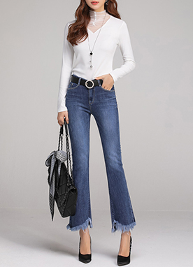Fringe Hem Long & Slim Boot-Cut Jeans, Styleonme