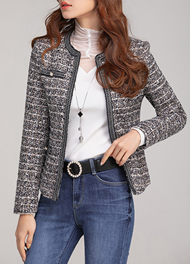 Navy Collarless Tweed Jacket, Styleonme