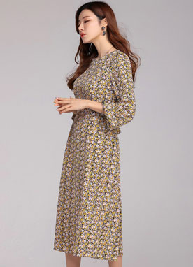 Floral Print Long Flared Dress, Styleonme