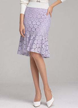 Floral Lace Flounced Hem Skirt, Styleonme