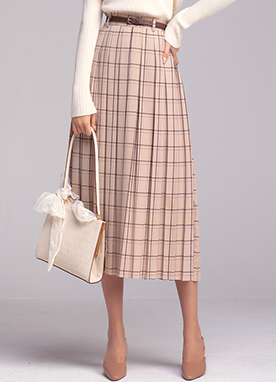 Check Print Long Pleated Skirt, Styleonme