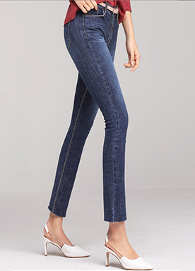 Blue Wash Slim Straight Leg Jeans, Styleonme