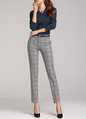 Check Print Slim Straight Leg Slacks, Styleonme