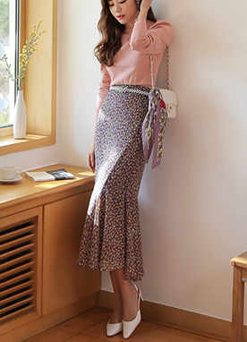 Spring Floral Print Long Flounced Skirt, Styleonme