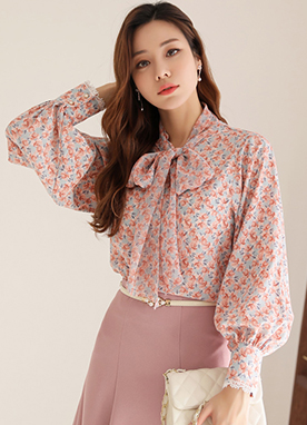 Spring Blossom Print Ribbon Tie Blouse, Styleonme