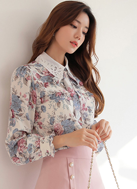 Floral Print Lace Collar Frill Blouse, Styleonme
