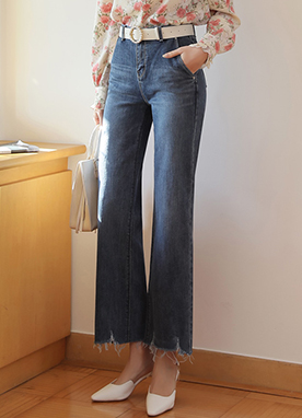 Frayed Hem Deep Blue Semi-Wide Jeans, Styleonme