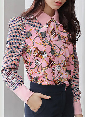 Silky Luxury Pattern Ribbon Collared Blouse, Styleonme