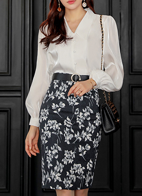 Floral Print Pencil Skirt, Styleonme