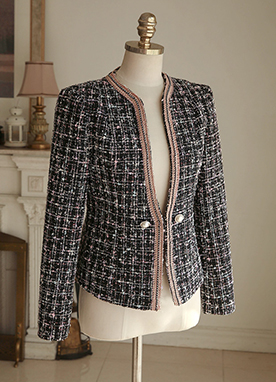 Pearl Button Cubic Trim Tweed Jacket, Styleonme