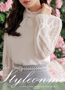 Ribbon Brooch See-through Lace Frill Trim Blouse, Styleonme