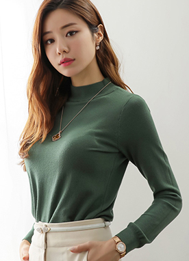 Lightweight Mock Neck Daily Knit Tee, Styleonme