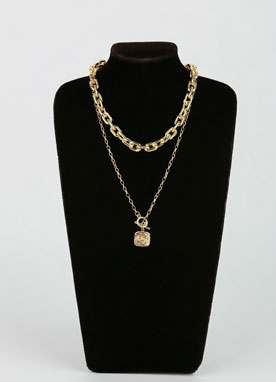 Gold Squared Pendant Chain Necklace Set, Styleonme