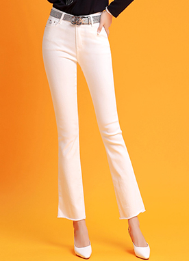 Spring Color Slim Boot-Cut Pants, Styleonme