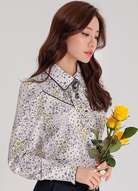 Yellow Floral Print Ribbon Collared Blouse, Styleonme